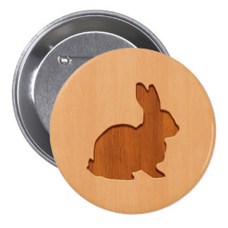 Rabbit silhouette engraved on wood design 3 inch round button