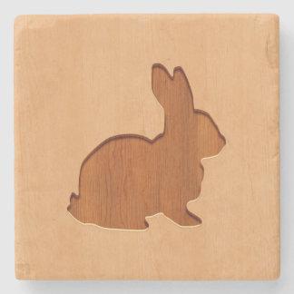 Rabbit silhouette engraved on wood design stone coaster