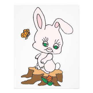 Rabbit Sitting on Stump Custom Letterhead
