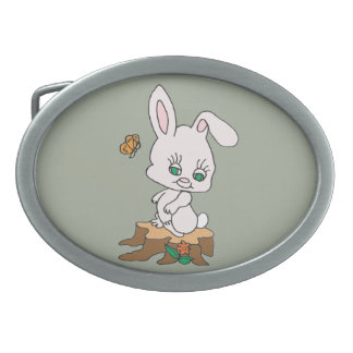 Rabbit Sitting on Stump Oval Belt Buckle