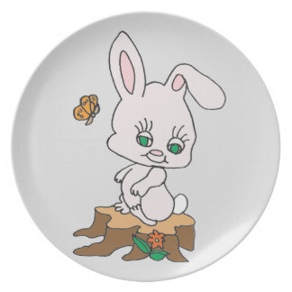 Rabbit Sitting on Stump Plate