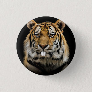 Rabbit tiger - tiger face - tiger head 1 inch round button