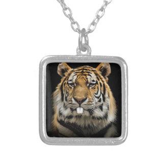 Rabbit tiger - tiger face - tiger head silver plated necklace