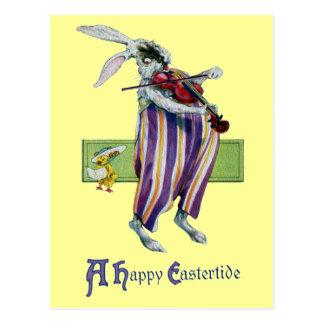 Rabbit Violinist Vintage Easter Postcard