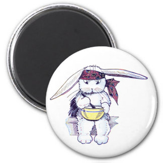 Rabbit Wearing Bandanna and Eating Cereal Magnet