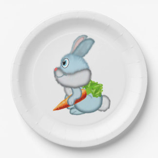 Rabbit with carrot 9 inch paper plate