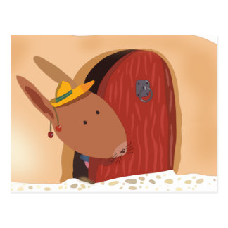 Rabbit with cherry postcard, light beige postcard