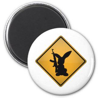 Rabbit with Gun Warning Sign Magnet