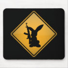 Rabbit with Gun Warning Sign Mouse Pad