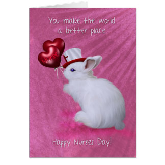 Rabbit With Heart Balloons And Cute Hat Nurses Day Greeting Card