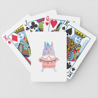 Rabbit With Party Attributes Girly Stylized Funky Bicycle Playing Cards