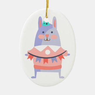 Rabbit With Party Attributes Girly Stylized Funky Ceramic Ornament