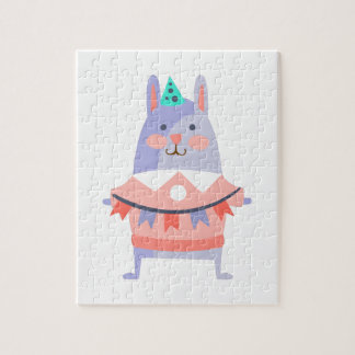 Rabbit With Party Attributes Girly Stylized Funky Jigsaw Puzzle