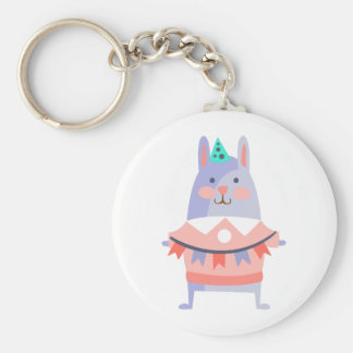 Rabbit With Party Attributes Girly Stylized Funky Keychain