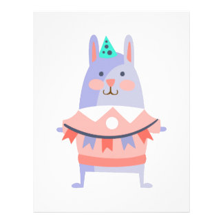 Rabbit With Party Attributes Girly Stylized Funky Letterhead