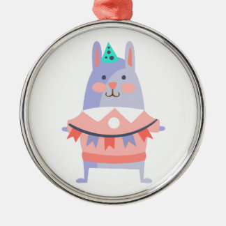 Rabbit With Party Attributes Girly Stylized Funky Metal Ornament