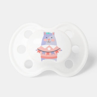 Rabbit With Party Attributes Girly Stylized Funky Pacifier