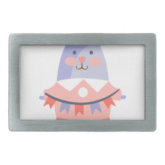 Rabbit With Party Attributes Girly Stylized Funky Rectangular Belt Buckle