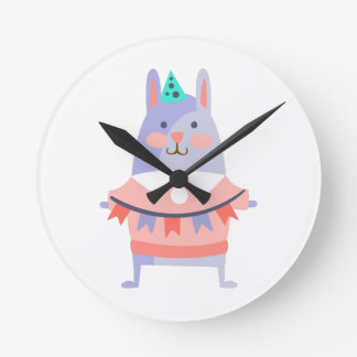 Rabbit With Party Attributes Girly Stylized Funky Round Clock