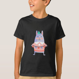 Rabbit With Party Attributes Girly Stylized Funky T-Shirt