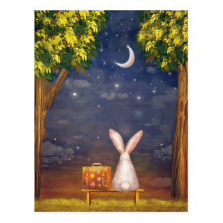 Rabbit With Suitcase Looking Into the Night Sky Postcard