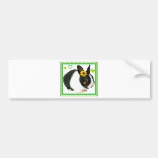 rabbit with sunflower bumper sticker