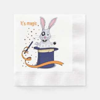 Rabbit with top-hat and magic wand paper napkin