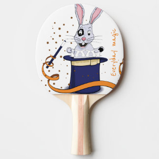 Rabbit with top-hat and magic wand ping pong paddle