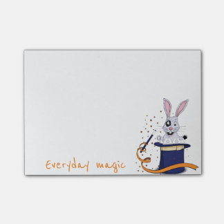 Rabbit with top-hat and magic wand post-it notes
