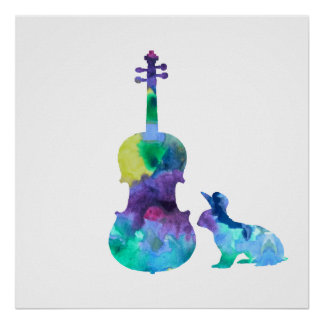 Rabbit with viola art poster