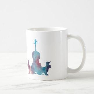Rabbits and viola coffee mug