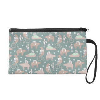 Rabbits, Bears, and Bicycles Pattern Wristlet Purses