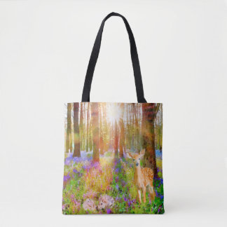 Rabbits & Deer in Woods Tote Bag