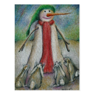 Rabbits desperate to eat snowman s carrot nose post card