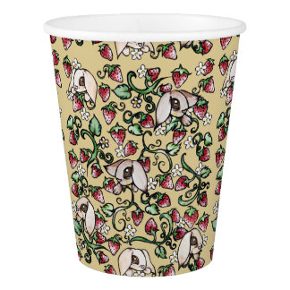 Rabbits in a Strawberry Patch Paper Cup
