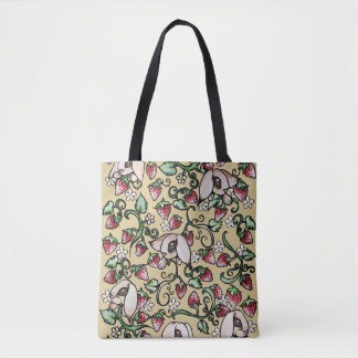 Rabbits in a Strawberry Patch Tote Bag