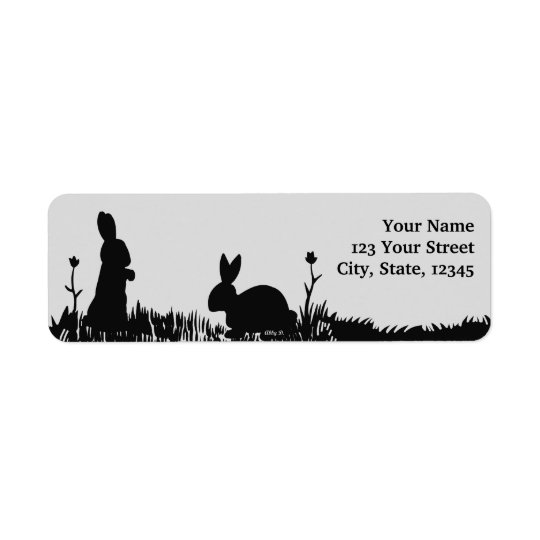 Rabbits in Meadow Silhouette Return Address Labels