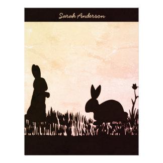Rabbits in the Meadow Silhouette Custom Letterhead