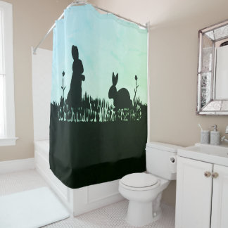 Rabbits in the Meadow Silhouette Shower Curtain