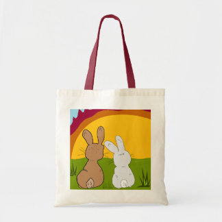 rabbits in the sunset tote bag