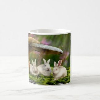 Rabbits in Wonderland (Rabbits & mushrooms mug) Coffee Mug