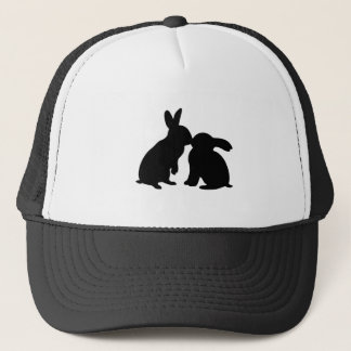 Rabbits Kissing silhouette Trucker Hat