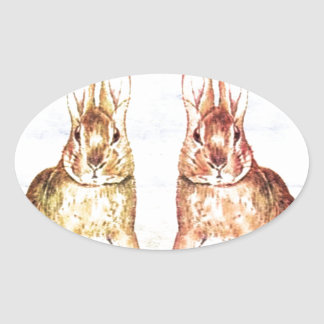 Rabbits Oval Sticker