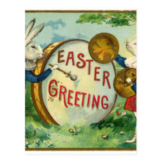 Rabbits playing drum Antique Easter greetings Postcard