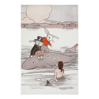 Rabbits Riding Whale Meet Mermaid Poster