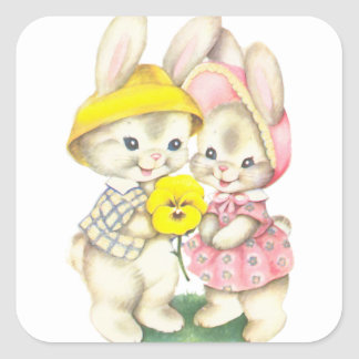 Rabbits Square Sticker
