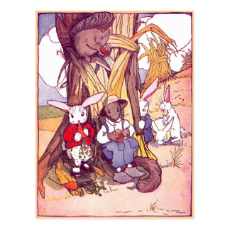 Rabbits & Squirrels Have Lunch Postcard