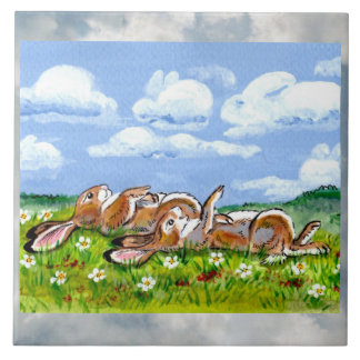 "Rabbits Watching Clouds Humorous 6"" Tile Trivet"