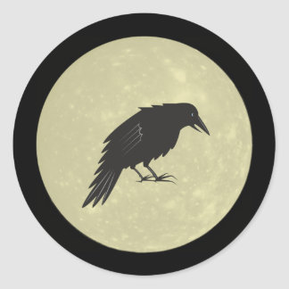 Rabe Mond raven moon Classic Round Sticker