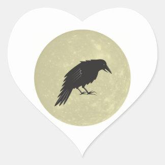 Rabe Mond raven moon Heart Sticker